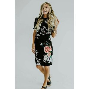 Roolee Toni Navy White Print Floral Dress
